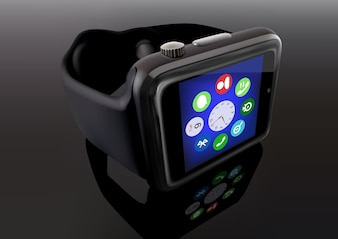 Smart Watch on Reflective Background