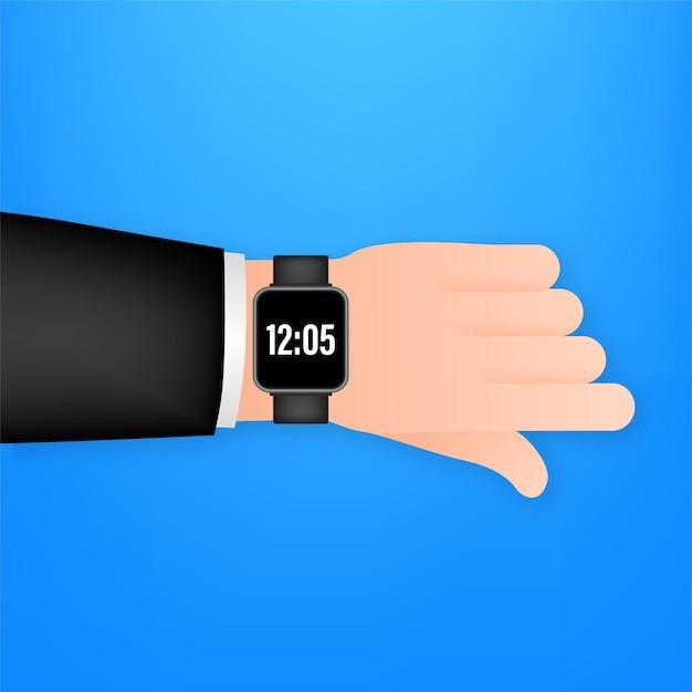 手持ちのスマートウォッチ。コンセプトウェアラブルテクノロジー。時間管理。ベクトルストックイラスト