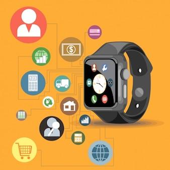 Smart watch on orange background