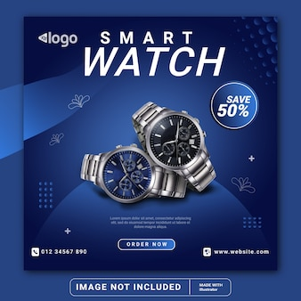 Smart watch product social media post banner template