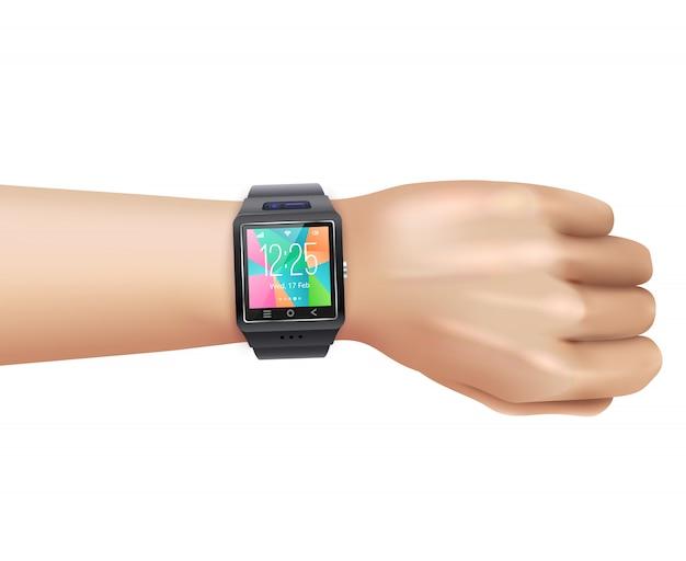 손에 현실적인 스마트 시계