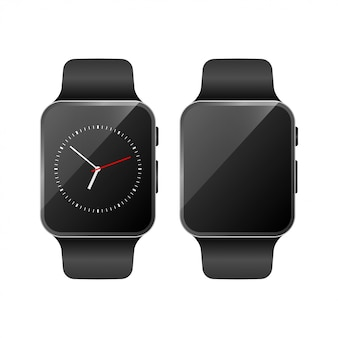 Smart watch set mockup vector
