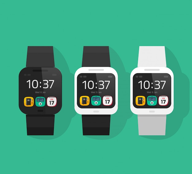 Smart watch set vector illustration flat cartoon