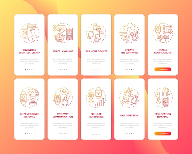 Подсказки по настройке умных часов на экране страницы мобильного приложения