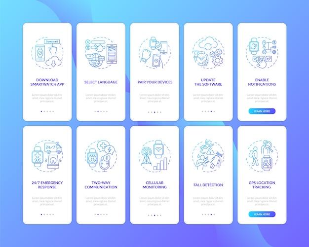 コンセプトが設定されたモバイルアプリのページ画面をオンボーディングするスマートウォッチのセットアップのヒント