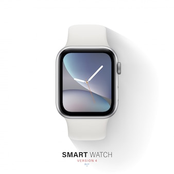 Smart watch silver color aluminum case on white