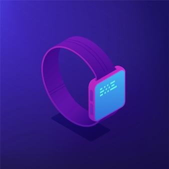 Программное обеспечение smart watch. изометрическая 3d иллюстрации.