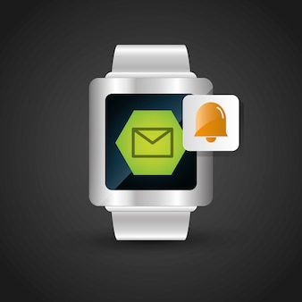 Smart watch wearable technology email bell alarm