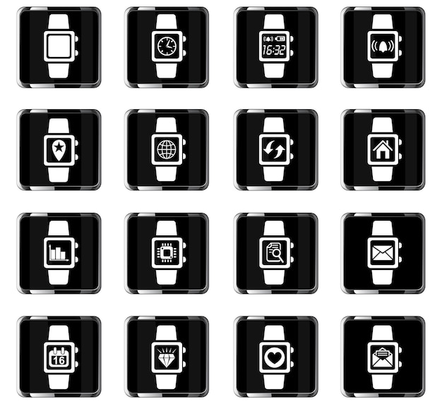 Smart watch web icons for user interface design