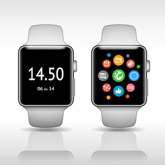 Smart watch with app icons on white background vector illustration