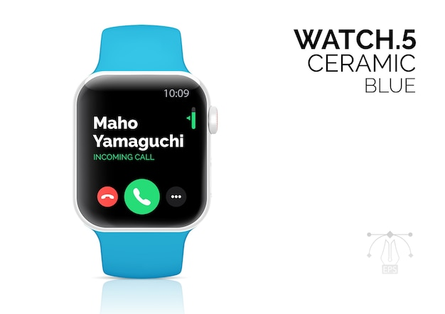 Smart watch with blue bracelet realistic  illustration.