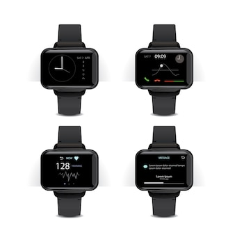 Smart watch with digital display illustration set