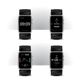 디지털 디스플레이 세트 일러스트와 함께 스마트 시계