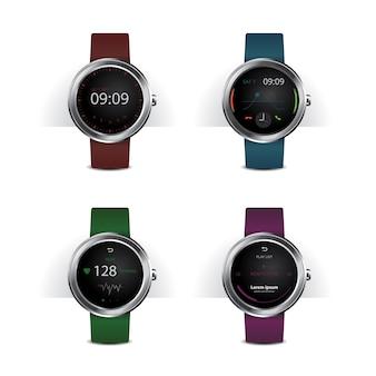 Smart watch with digital display set illustration