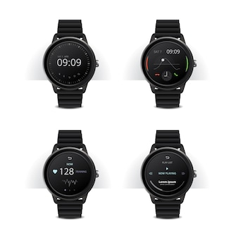 Smart watch with digital display set illustration