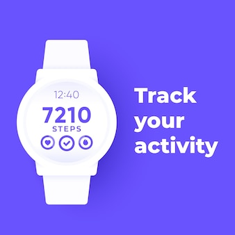 Smart watch with fitness app, activity tracker and step counter, vector banner