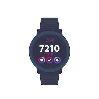 Smart watch with fitness app, activity tracker and step counter, vector