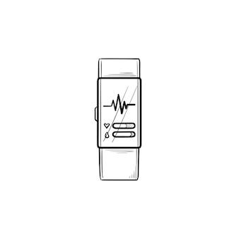 心拍数の手描きのアウトライン落書きアイコンとスマートウォッチ。フィットネストラッカーとヘルスケア、パルスコンセプト