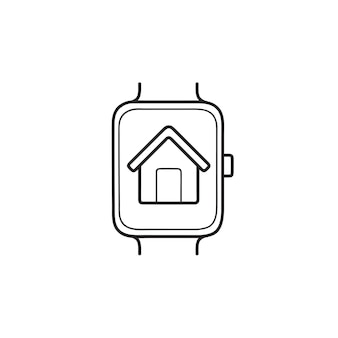 家の手描きのアウトライン落書きアイコンとスマートウォッチ。スマートハウス、スマートウォッチ、デジタルデバイスのコンセプト