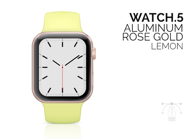 Smart watch with lemon color bracelet realistic  illustration.