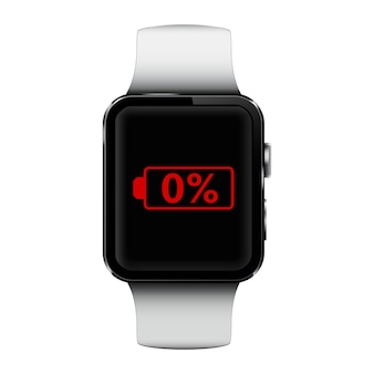 Smart watch with low battery sign on screen