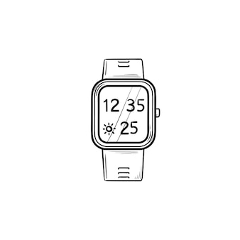 時間と天気の手描きのアウトライン落書きアイコンとスマートウォッチ。デジタルガジェット、スマートウォッチアプリのコンセプト