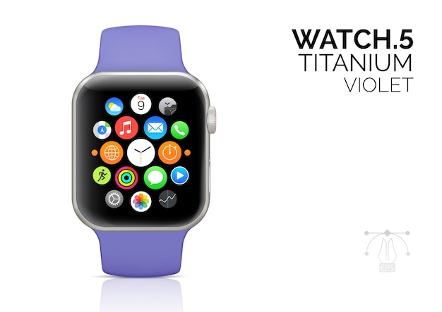 Smart watch with violet strap realistic  illustration.