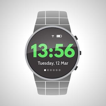 白い背景の上のスマート時計デバイス。ベクトルイラスト