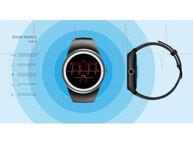 Smart watches that monitor the parameters of sleep and rest, health and heart rate.  illustration