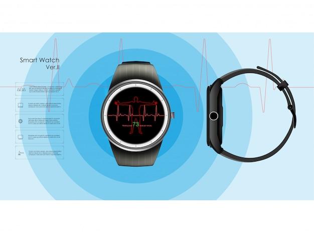 睡眠と休息、健康、心拍数のパラメータを監視するスマートウォッチ。図