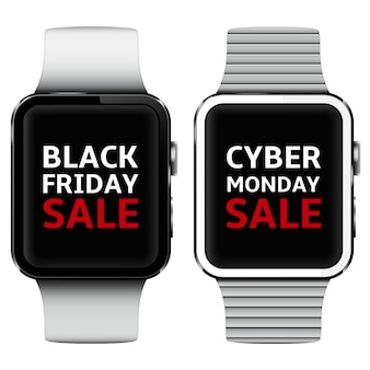 Smart watches with black friday and cyber monday sale text on screen