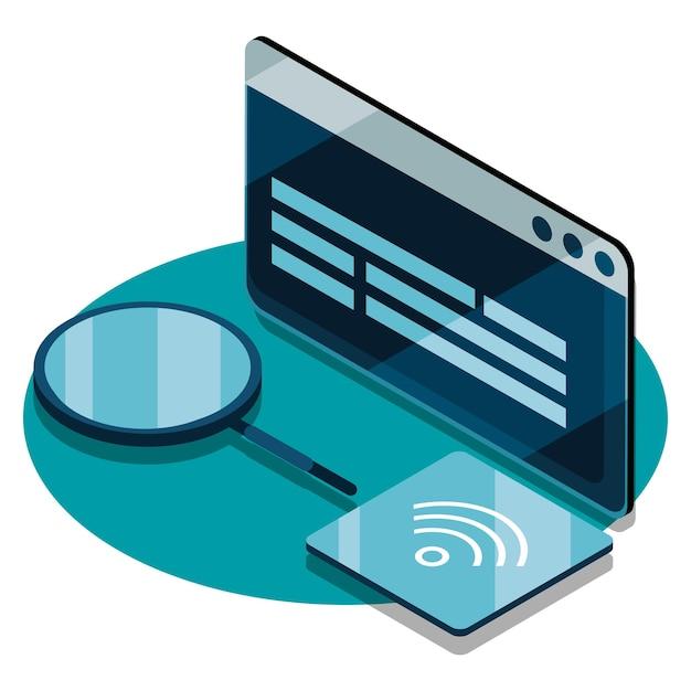 スマートなウェブサイトとインターネットアイコン