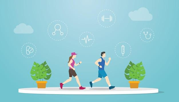 Концепция умной тренировки с парой мужчин и женщин, бегущей вместе с современной плоской векторной иллюстрацией
