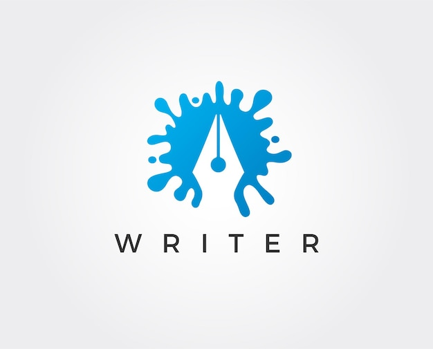 Умный писатель векторный логотип шаблон