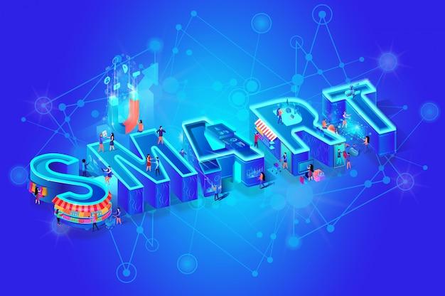 Изометрическое слово smart на синем градиенте