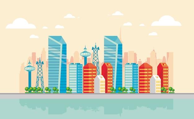 Сцена smartcity со зданиями