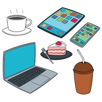 Smartdeviceコーヒーとケーキのベクトルセット