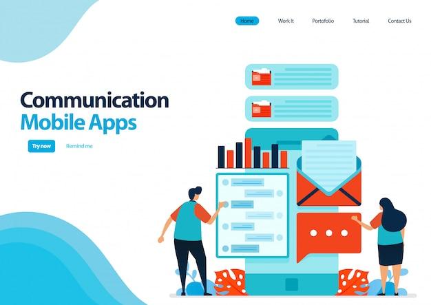 通信およびメッセージ送信用のモバイルアプリのランディングページテンプレート。 smartfoneでチャットアプリ。コミュニケーション開発技術。