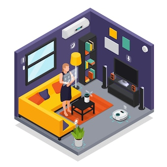 Smarthome living room iot interior with wearable gadgets smartwatch controlling robotic vacuum cleaner isometric composition  illustration