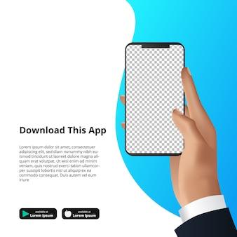 ダウンロードソフトウェアのsmarthphoneアプリを持っている手のモックアップを作成します。