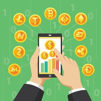 Crypto currency 일러스트레이션 디자인을 위한 smartohone