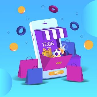 マーケティングとデジタルマーケティングのスマートフォン3dオンラインショッピング。モバイルアプリケーションとウェブサイトの概念。ベクトルイラスト