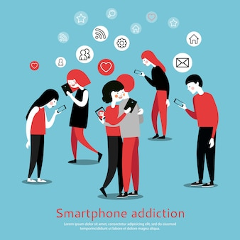 Smartphone addiction awareness flat poster