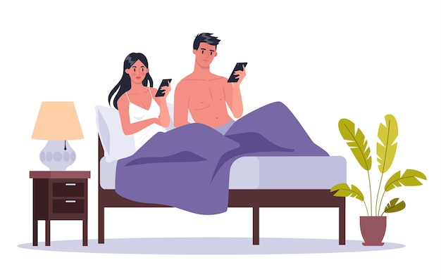 スマートフォン中毒のコンセプト。ネットサーフィンを一緒にベッドで横になっている若いカップル。女と男の自宅で電話中毒。図