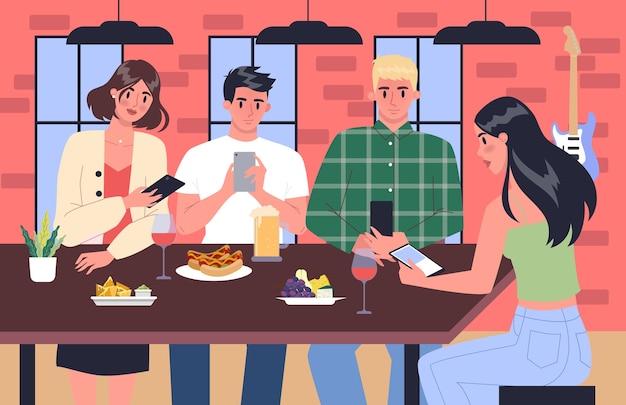 스마트 폰 중독 개념. 젊은 사람들은 함께 인터넷 서핑을하며 시간을 보냅니다. 카페에서 전화 중독에 걸린 친구. 삽화