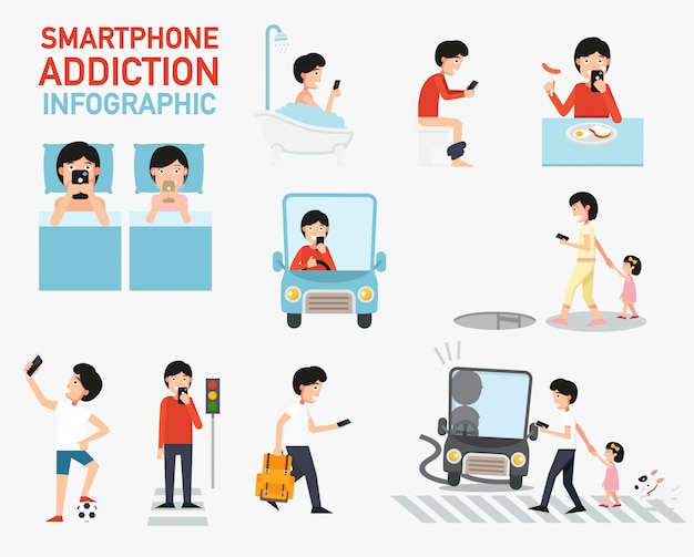Smartphone addiction infographic. vector