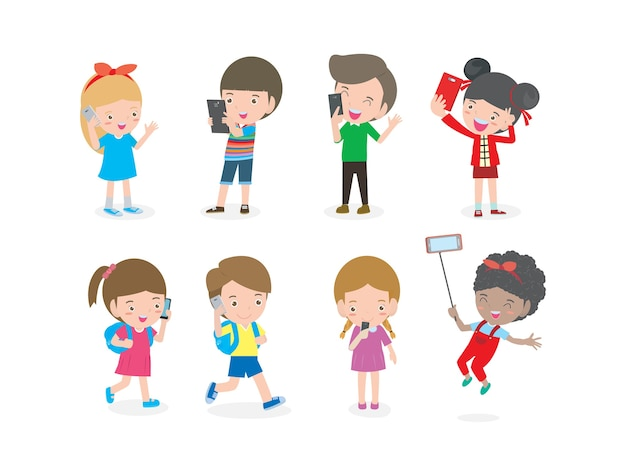 スマートフォン中毒、スマートフォンを持つ子供、携帯電話を持つ子供、電話を持つ少年と少女、ガジェットを持つ子供、スマートフォンを持つ人々、ソーシャルネットワーク上の人、白い背景で隔離