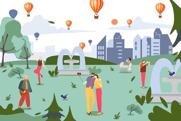 Смартфон зависимость, люди в городской парк иллюстрации. социальный чат в интернете, мобильный гаджет в образе жизни персонажа