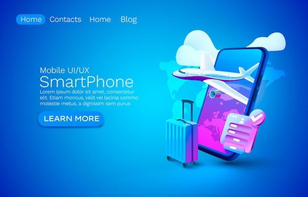 Смартфон приложение для самолета баннер концепция место для текста в аэропорту онлайн-приложение багаж мобильный сервис ...