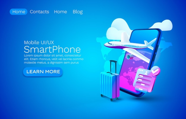Smartphone airplane app banner concept place for text airport online application luggage mobile serv...